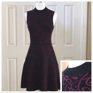 Knit Xhileration Mini Dress in black with burgundy
